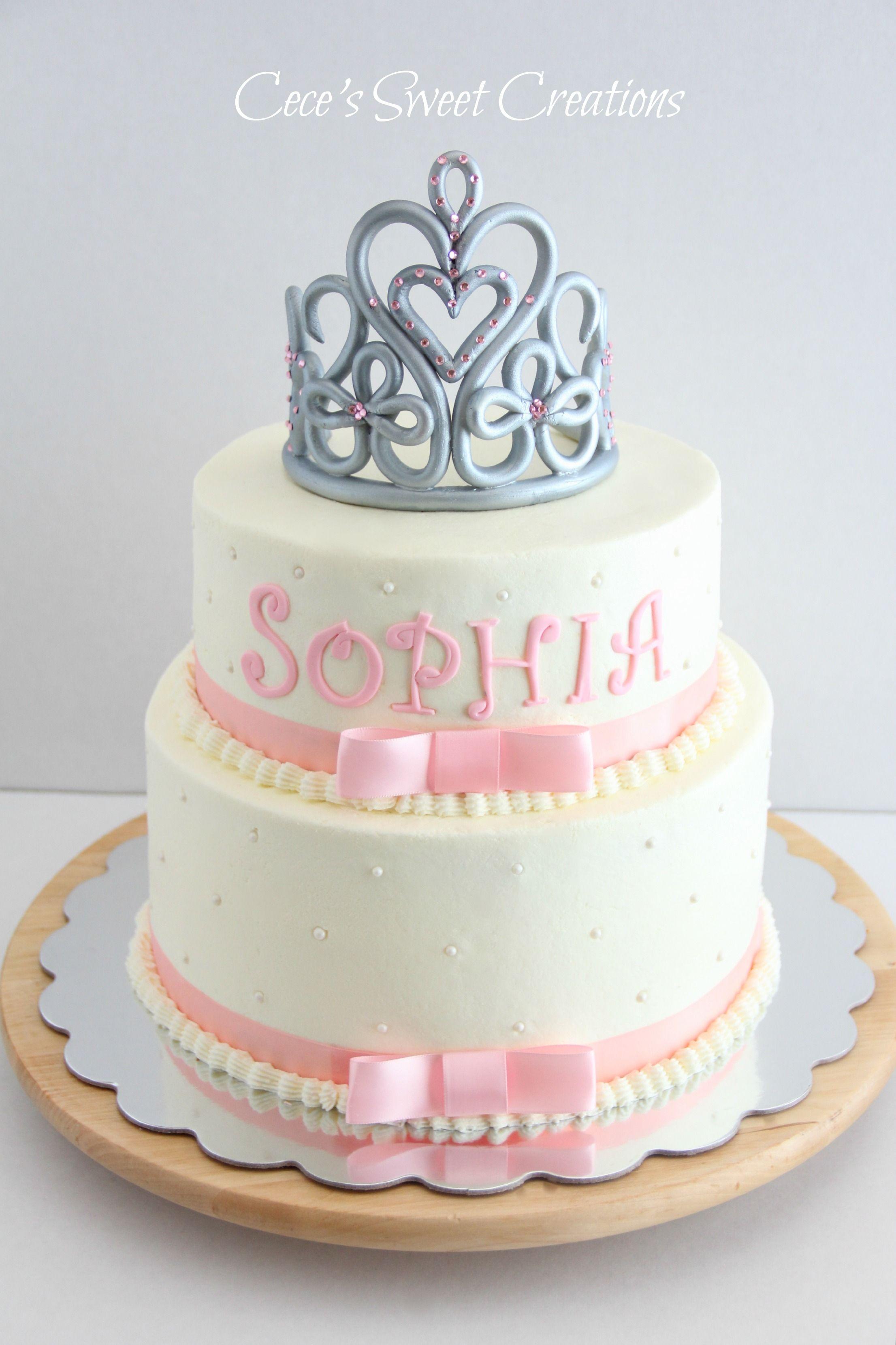 Nice Princess Baby Shower Cake   2 Tier Buttercream Princess Baby Shower Cake.  Tiara Was Freestyle