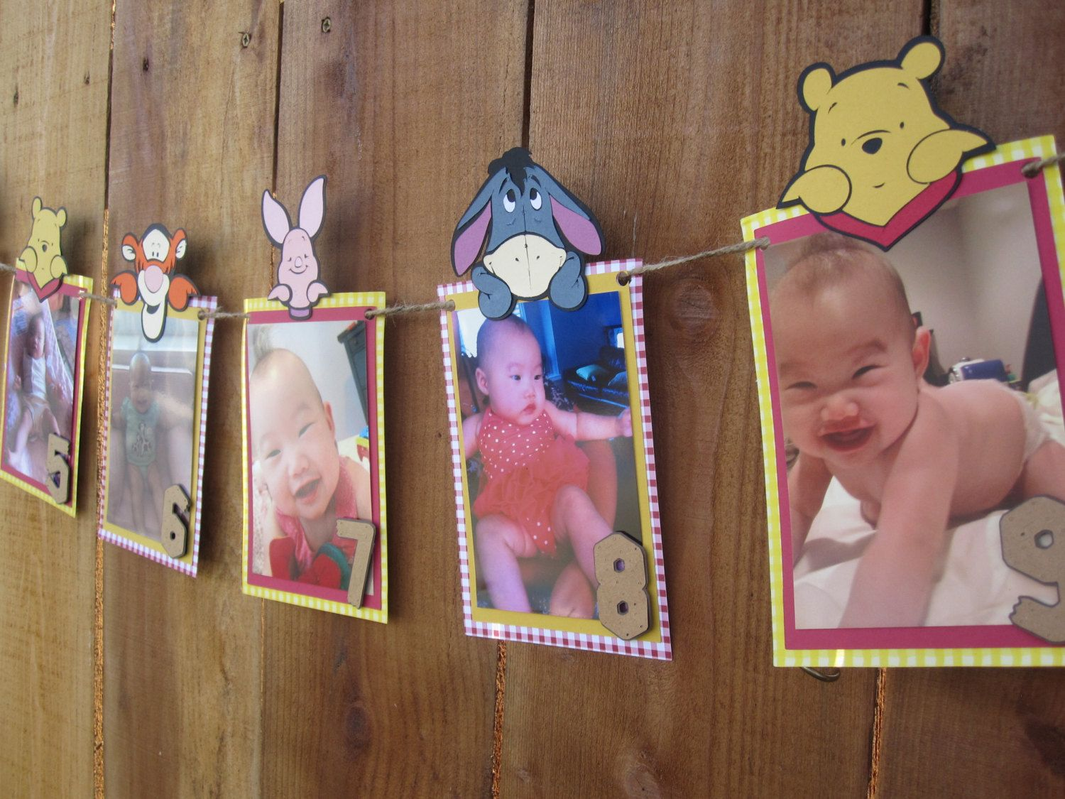 Winnie The Pooh 12 Month Photo Banner Etsy Winnie The Pooh Birthday 1st Birthday Parties Birthday Theme
