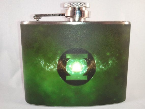 Green Lantern Flask 4oz Stainless Steel Flask by BrilliantBashes, $16.00  (Groommen's Gifts)