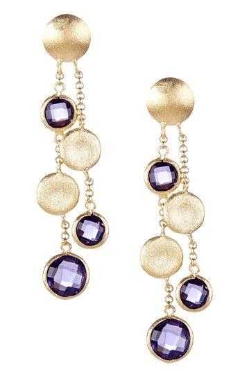 18K Gold Clad Cascading Pebble & Amethyst Crystal Dangle Post Earrings by Rivka Friedman on @HauteLook