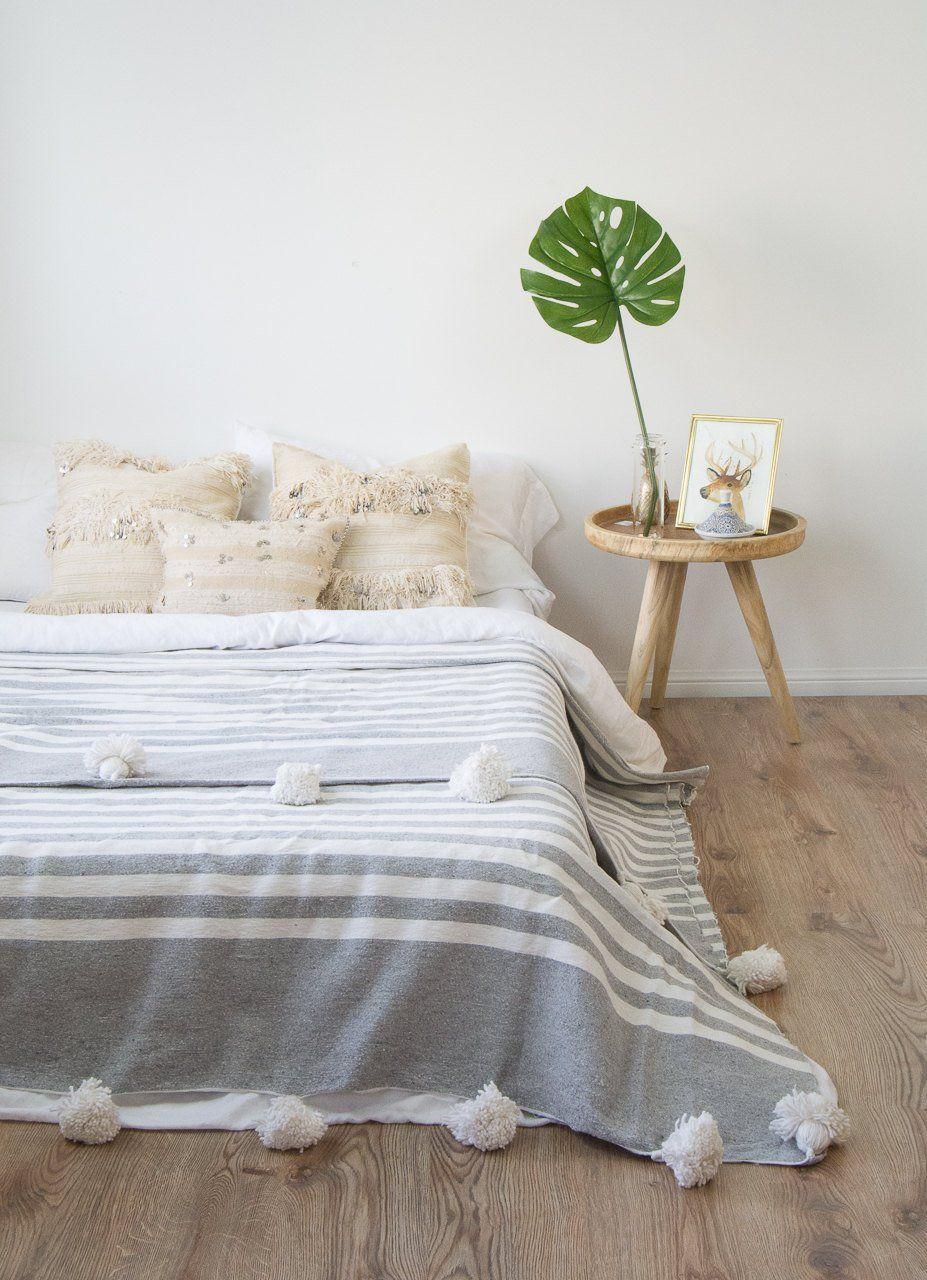 Moroccan Pom Pom Blanket Gray And White Stripes Moroccan Decor