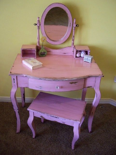 Pretty In Pink With Antique Brown Finish Desk Vanity Mirror Interior