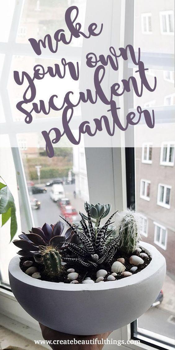 So können Sie ganz einfach Ihren eigenen saftigen Pflanzer herstellen   #HomeDecor