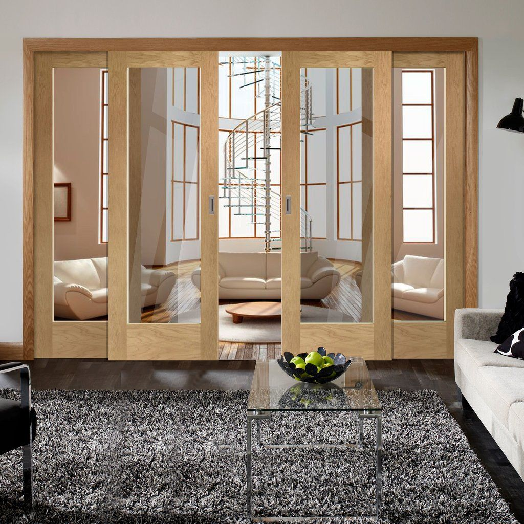 Easi Slide Op1 Oak Full Pane Sliding Door System In Four Size Widths With Clear Glass Sliding Doors Interior Living Room Door Glass Doors Interior