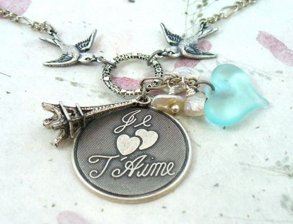 Vintage Je t' Aime Sparrow Necklace keshi Pearls by DesignsBySuzze, $29.00