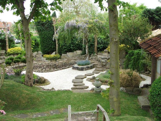 japanischer garten stein platten weiße kiessteine | 정원, Gartengestaltung