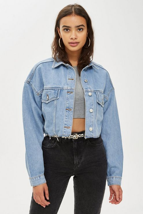 TALL Hacked Off Crop Denim Jacket   Outfit in 2019