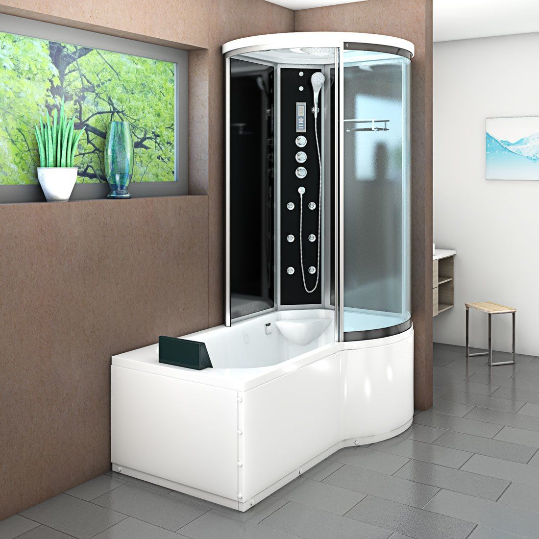 Acquavapore Dtp8055 Sw Whirlpool Badewanne Dusche Duschkabine 170x 859 00 Badewanne Mit Dusche Badewanne Duschkabine