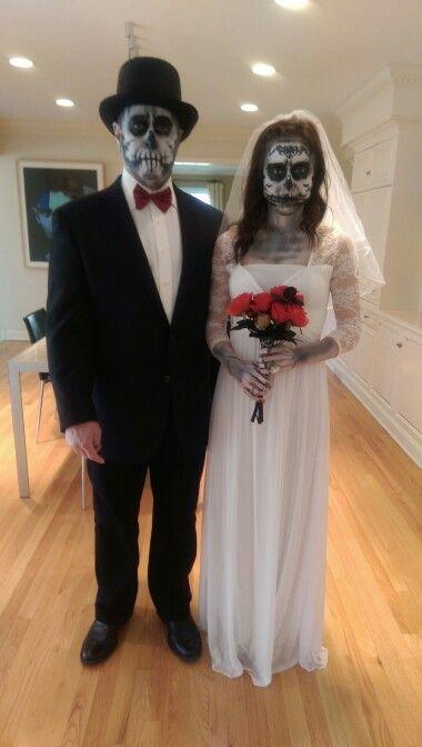 Bride And Groom Halloween Costume.Diy Halloween Costume Skeleton Bride And Groom Halloween