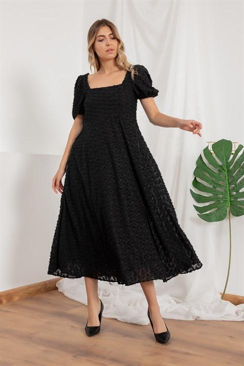 Kare Yaka Midi Boy Elbise Siyah 2020 Elbise Elbise Modelleri The Dress