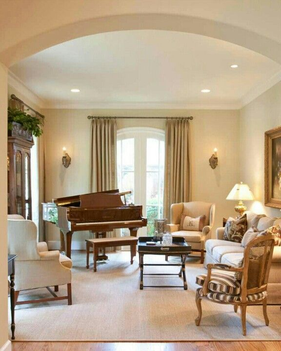 traditional family room ideas.  Paint on walls is Sherwin Williams 6120 Believable Buff French Country Traditional Family Room Houston Creative Touch Interiors Pin by Rania Moez Home Decor that I love Pinterest