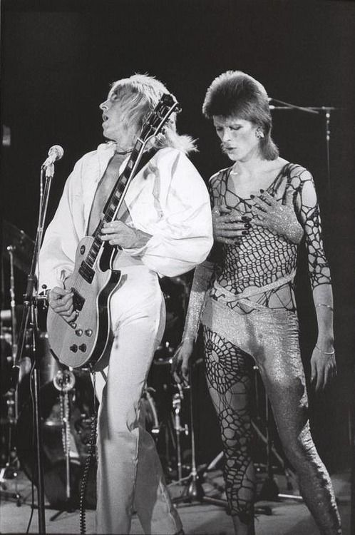 Mick Ronson and David Bowie 70s.