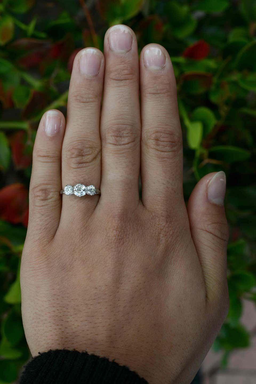 Antique 3 Stone Diamond Engagement Ring 1 Carat Platinum Trinity Band Old Mine In 2021 Three Diamond Engagement Ring 1 Carat Engagement Rings Engagement Rings