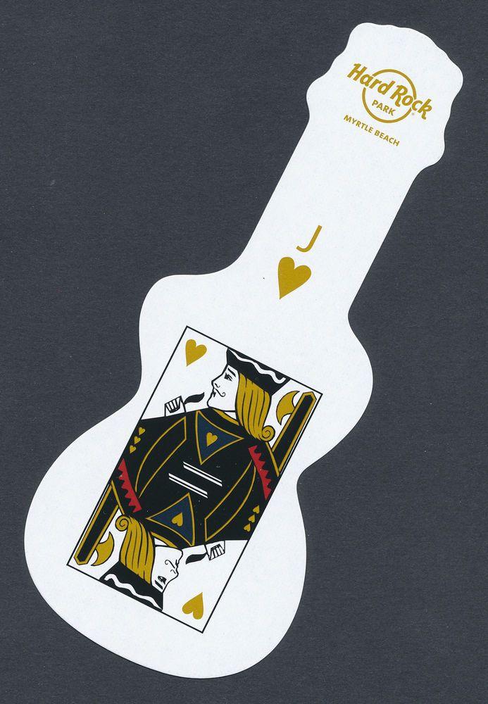 "Hard Rock Park Myrtle Beach guitar shaped 6"" playing card single jack - 1 card"
