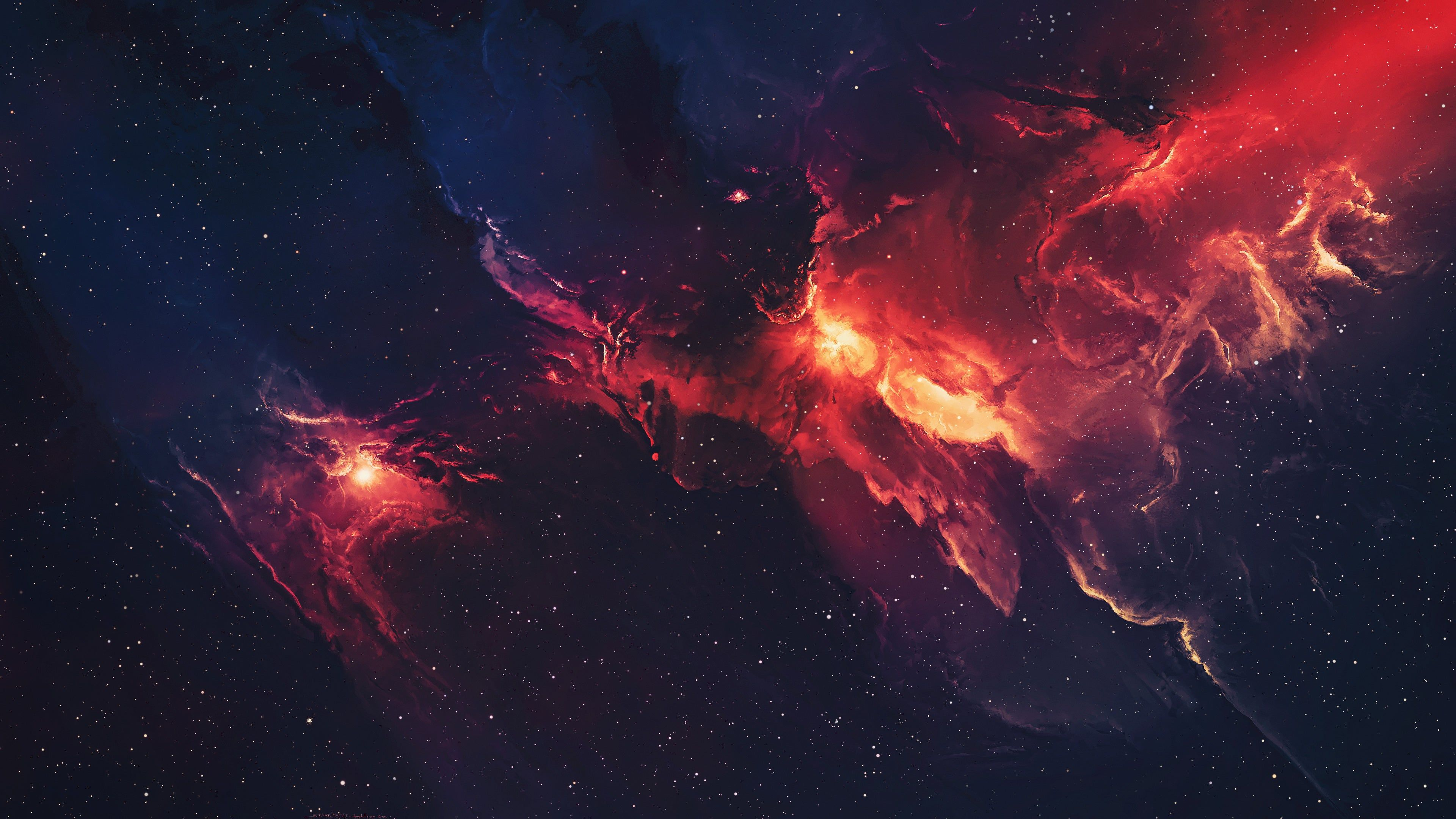 Red And Blue Nebula 4k Wallpaper Nebula Wallpaper Galaxy Wallpaper Star Wallpaper