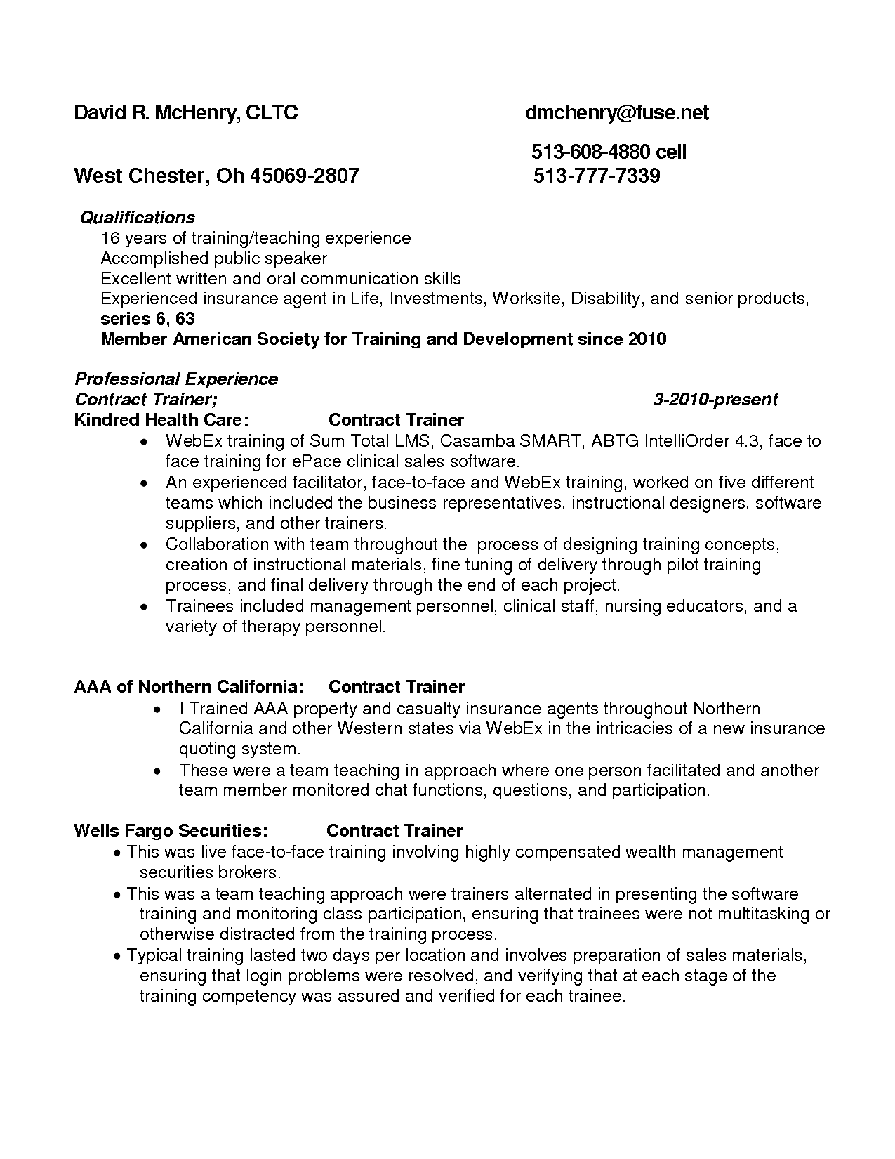 health insurance resume sample