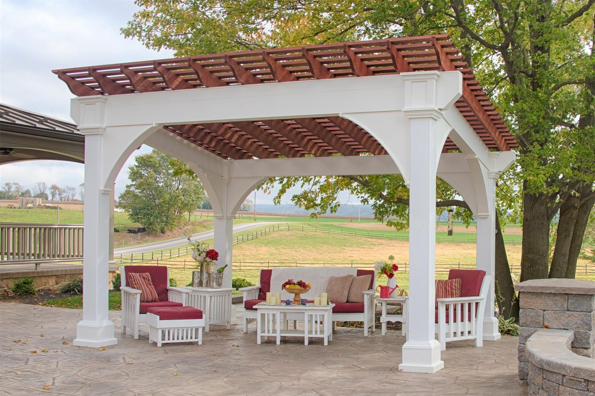 Amish Santa Fe Vinyl Pergola Kit The Amish Santa Fe Vinyl Pergola Kit Is Ready To Host Your Outdoor Activities This Cust Outdoor Pergola Pergola Plans Pergola