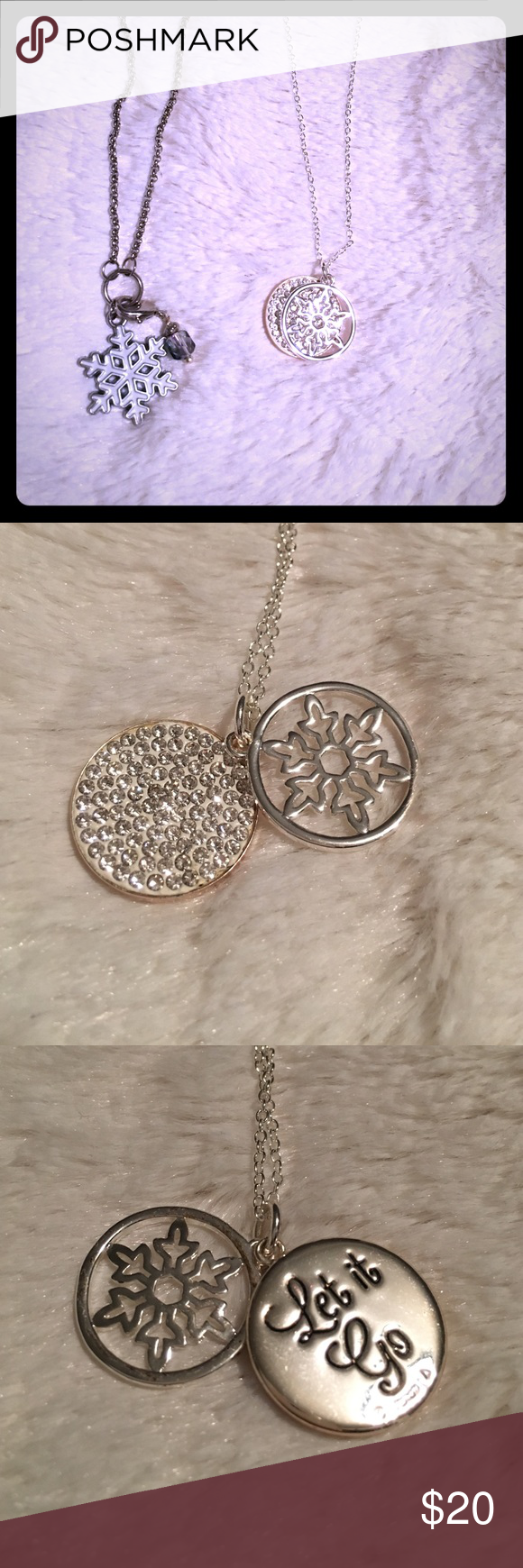 """Set of Disney Frozen Necklaces - GUC Set of two Disney Frozen necklaces. The """"let it go"""" necklace is from the Disney Kohl's collection. The enamel snowflake with blue charm is from a boutique, and is handmade. Both necklaces included in the price of this listing. Make sure to check out my closet for other great finds! Disney Jewelry Necklaces"""