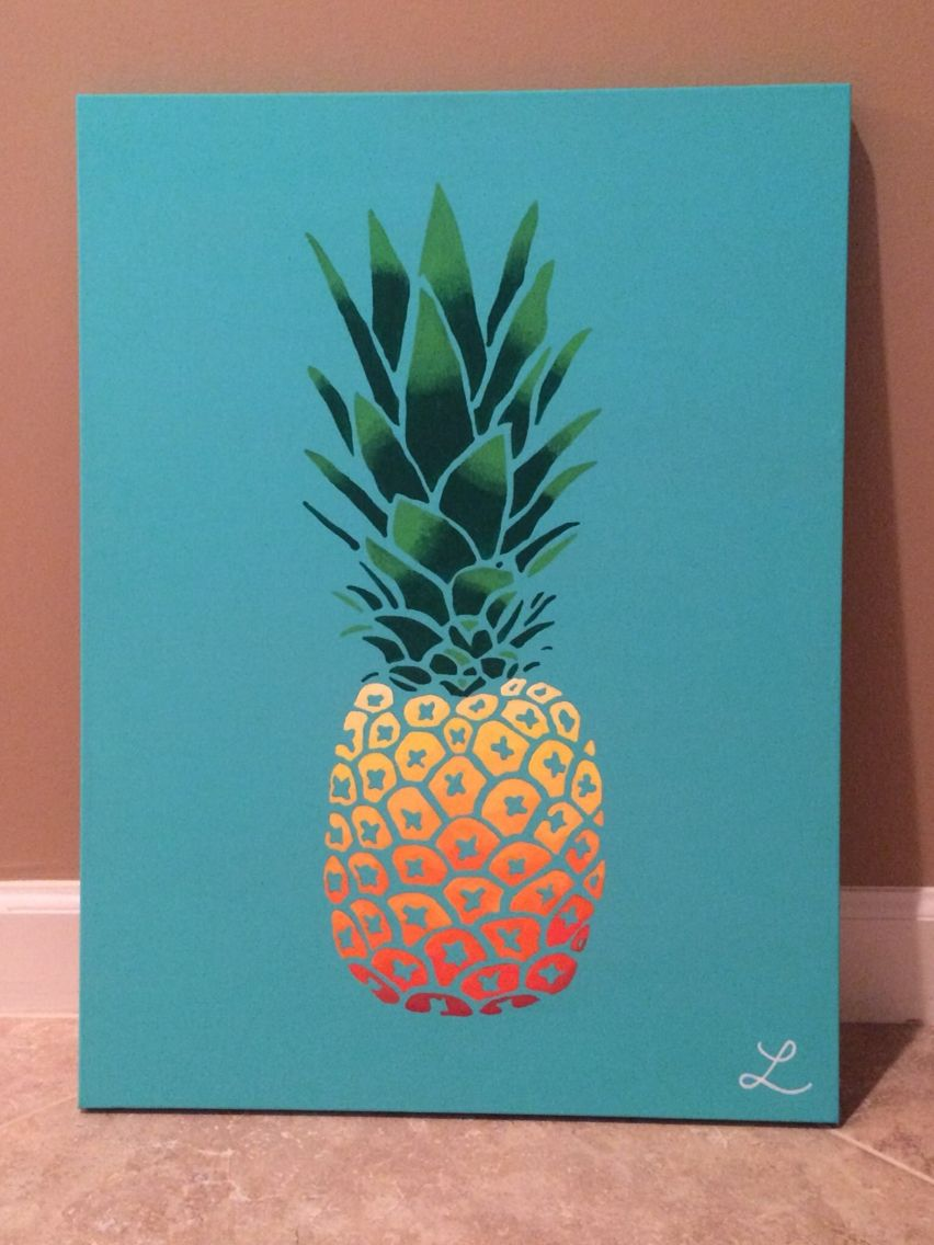 Pineapple canvas art wall art pinterest canvases for Three canvas painting ideas