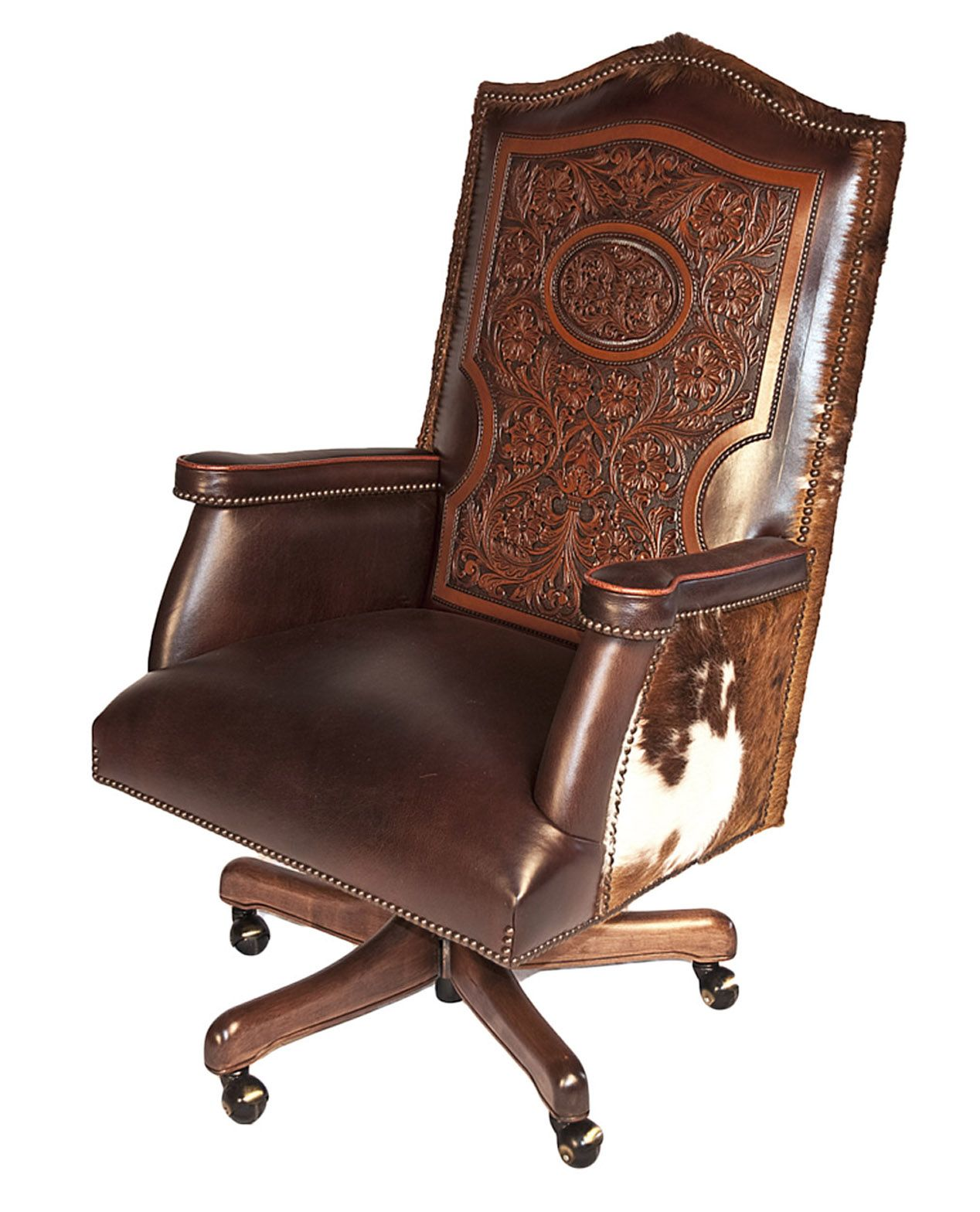 Hair On Hide Office Chair Cheap Pool Chaise Lounge Chairs Cattle Baron Desk With And Hand Tooled Dream