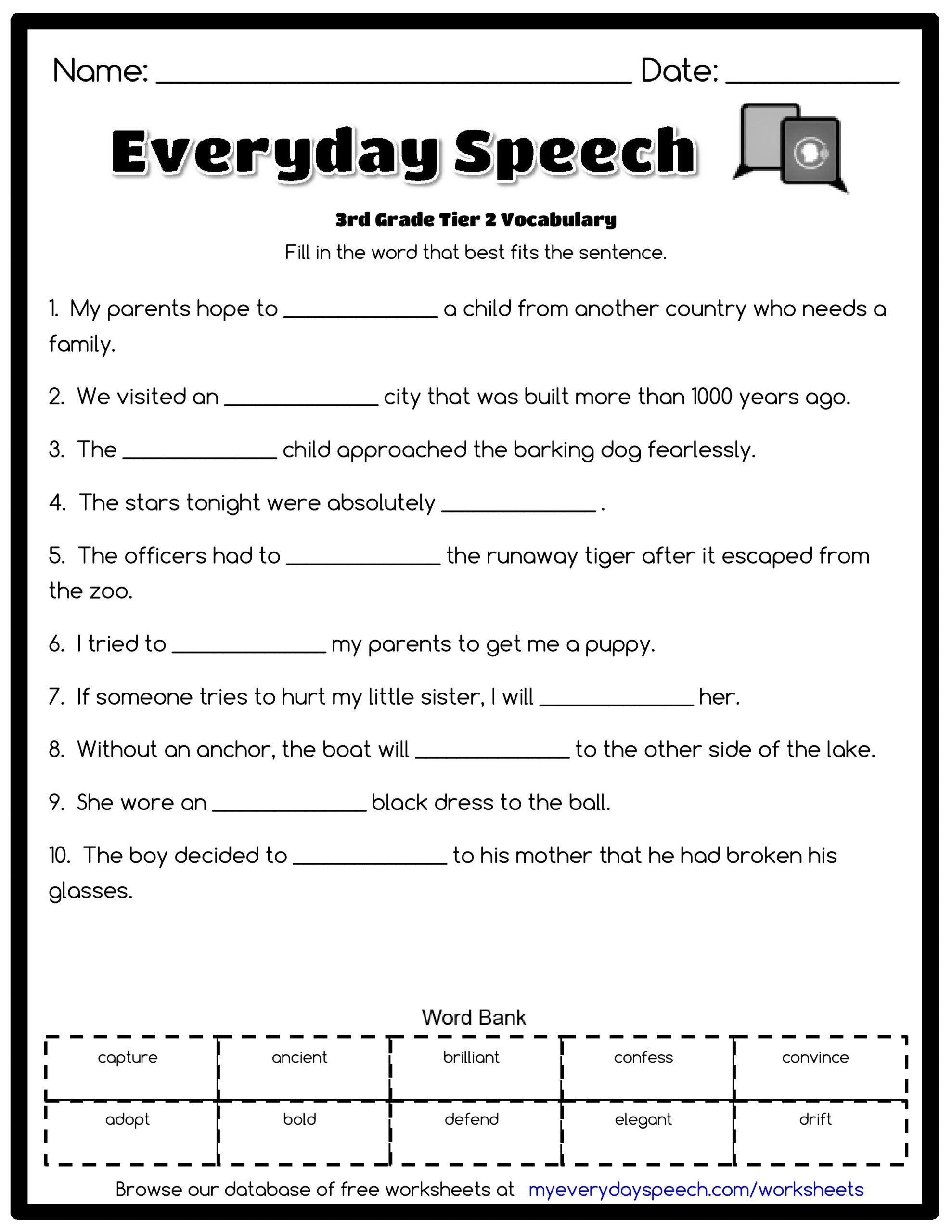 5th Grade Vocabulary Worksheet 3rd Grade Vocabulary