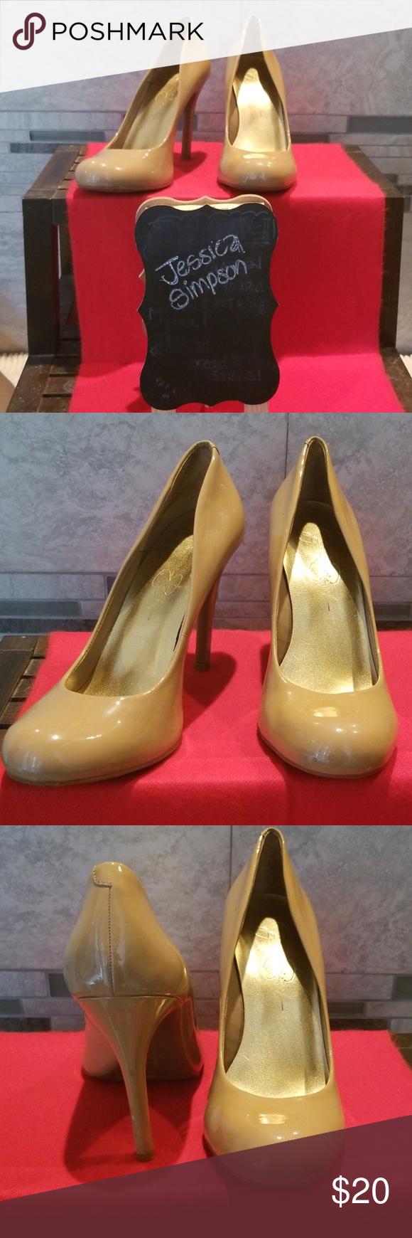 b3c682847c6 Jessica Simpson Leather nude Heels Very nice pair of Jessica Simpson ...