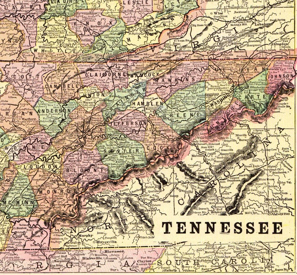 1900 Antique KENTUCKY Map TENNESSEE Map Vintage Collectible ...