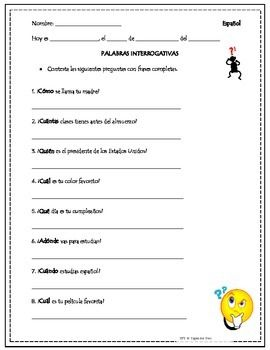 spanish question words practice interrogativas spanish worksheets and spanish help. Black Bedroom Furniture Sets. Home Design Ideas