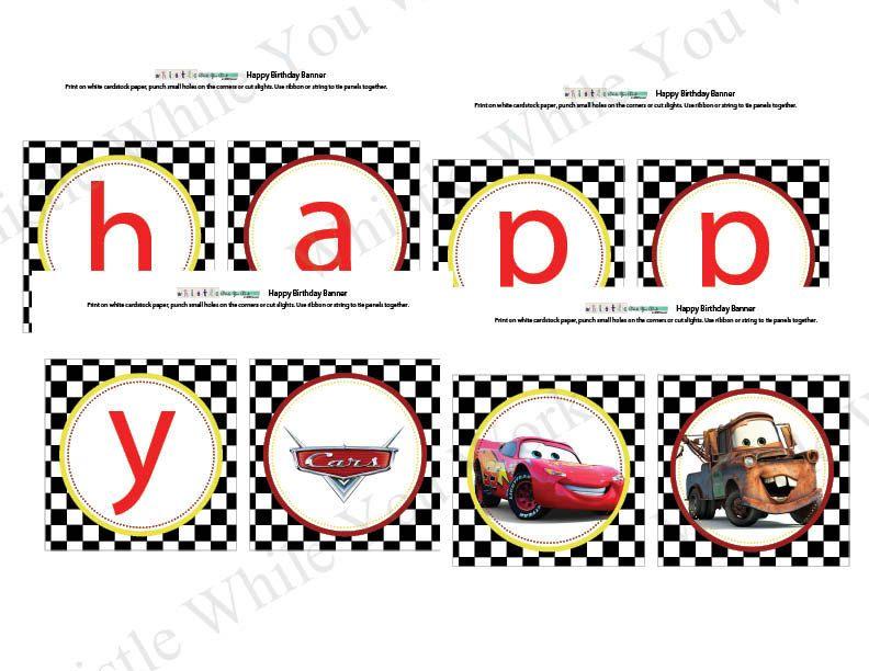 Sale Happy Birthday Banner Printable Cars Birthday