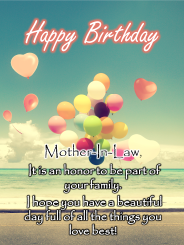 Balloons On The Beach Happy Birthday Card For Mother In Law Birthday Greeting Cards By Davia Birthday Cards For Mother Birthday Wishes For Mother Wishes For Mother