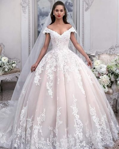 ce1668d11f5c Princess Light Pink Lace Wedding Dress with Off-the-Shoulder  Sleeves,Sleeveless Appliques