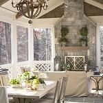 sunroom with fireplace