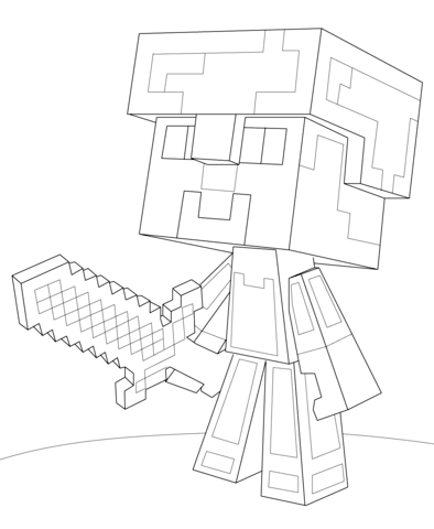 Minecraft Steve Diamond Armor coloring page from Minecraft ...