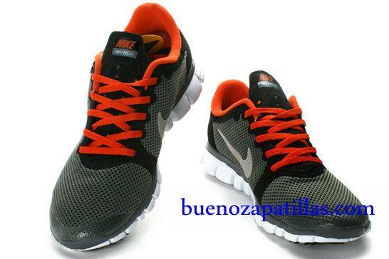 Hombre Nike Free 3.0 V2 Zapatillas (color : vamp - negro , en el interior - rojo , logotipo - gris ; sole - blanco)