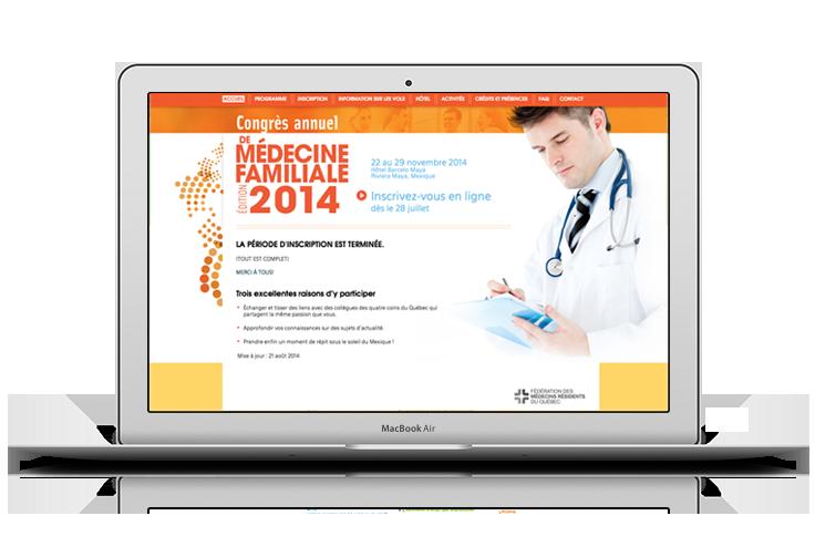Client : FMRQ. Microsite pour l'inscription au congrès de médecine familiale. www.congresmf.ca