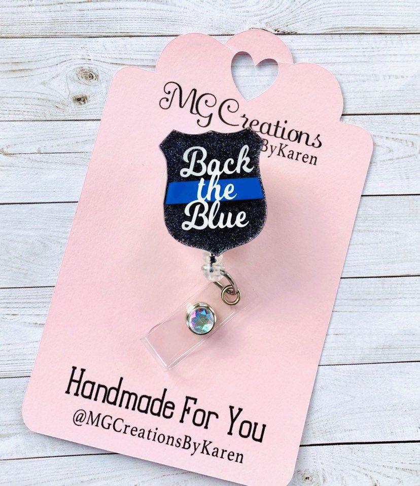 Thin Blue Line Badge Reel, Police Badge Reel, Law
