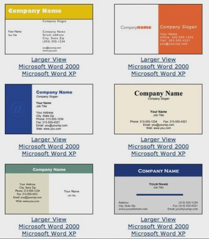 Microsoft Business Card Templates