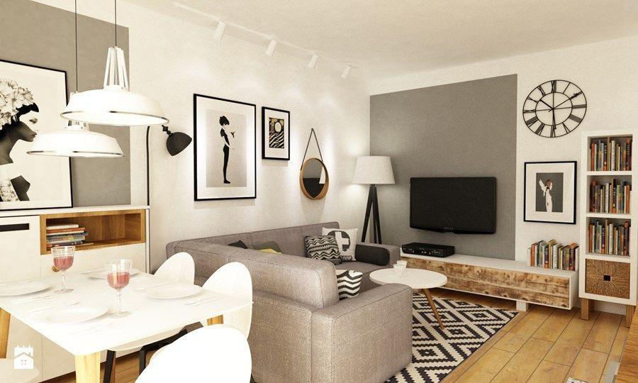 Photo of Mieszkanie w realizacji Åšredni salon z jadalniÄ … styl skandynawski