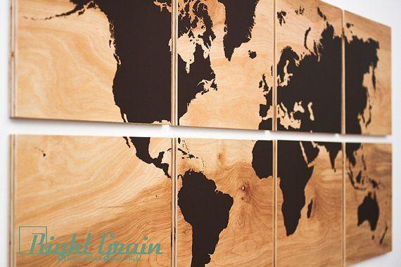 Xl world map wall art on natural birch wood grain panels 24x48 xl world map wall art on natural birch wood grain panels 24x48 custom made gumiabroncs Choice Image