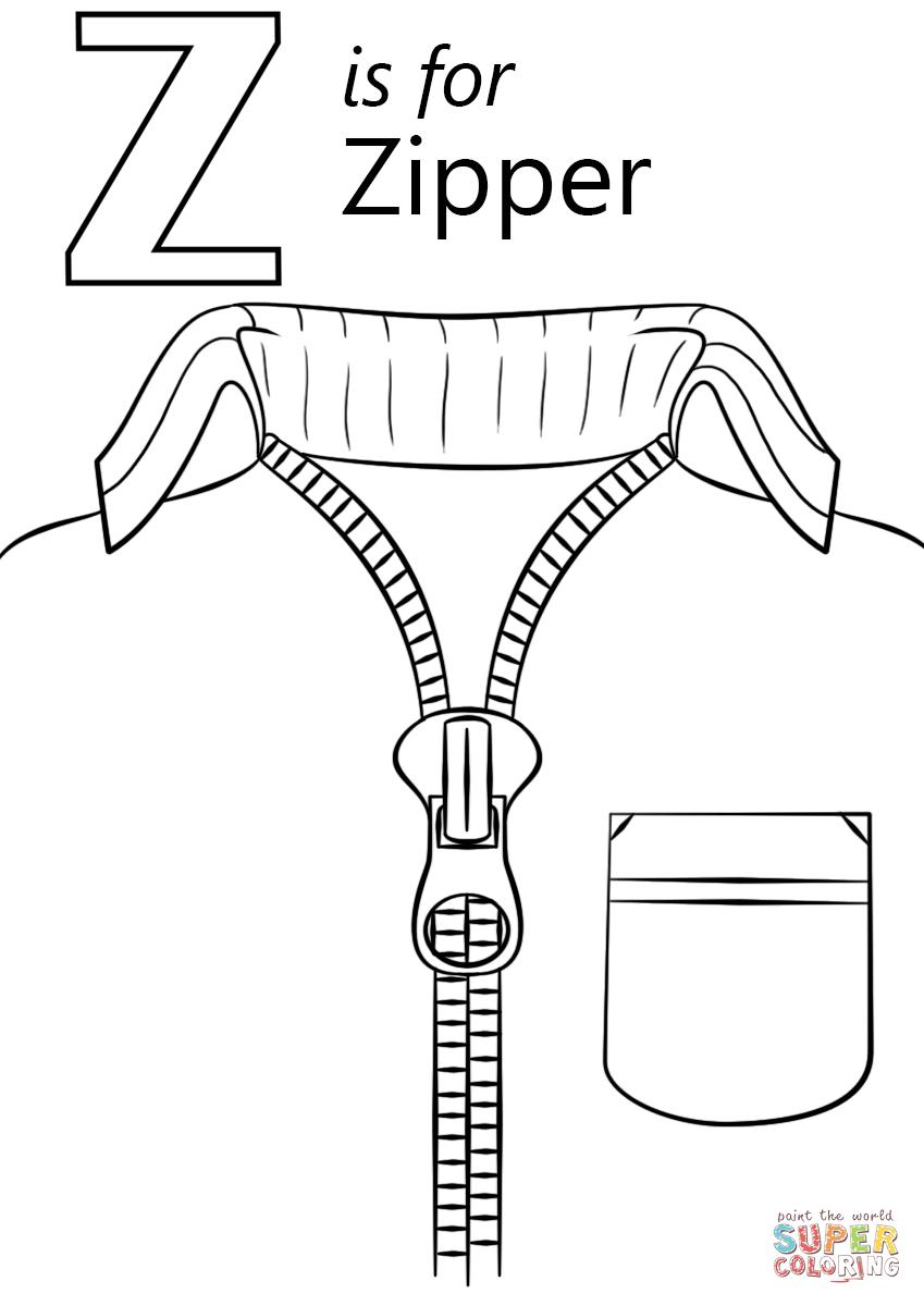 Letter Z Is For Zipper Super Coloring Alphabet Coloring Pages Letter Z Abc Coloring Pages