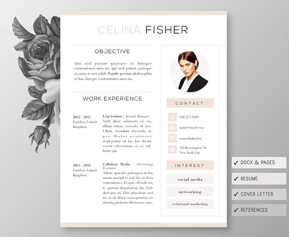 Classy Resume 4page Including Cover Letter Reference Template For By ChicUnicorn