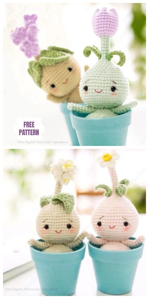 Crochet Flower Bulb Doll Amigurumi Free Patterns #amigurumifreepattern