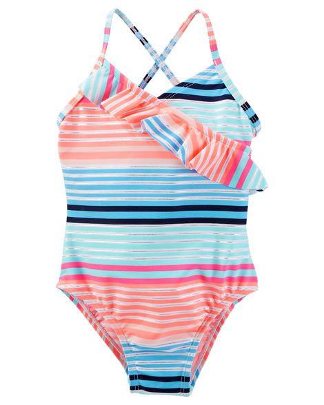 Baby Girl OshKosh Striped Ruffle Swimsuit from OshKosh B'gosh. Shop clothing…