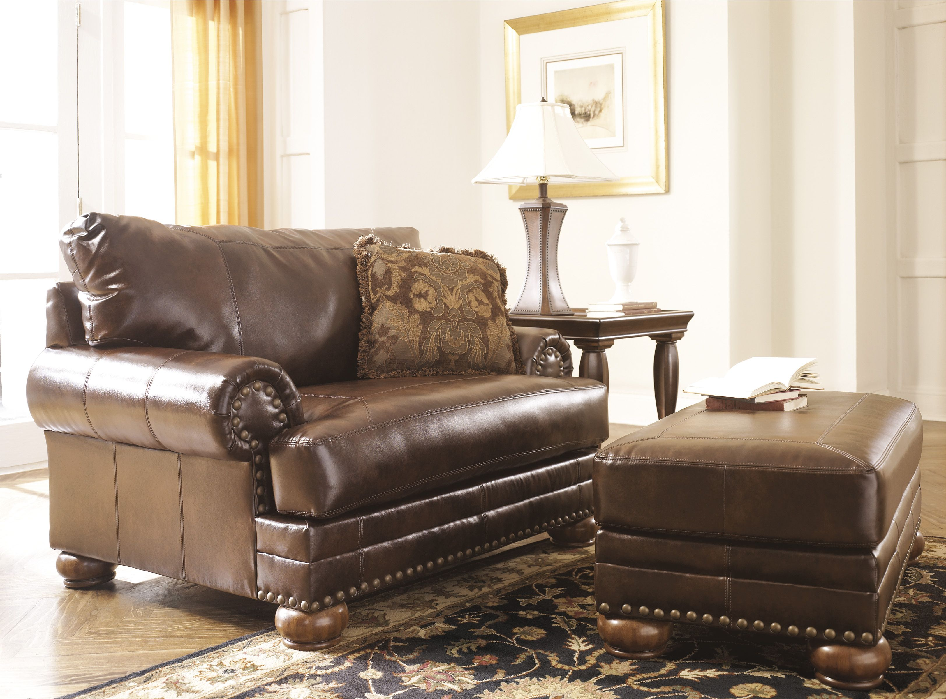 The Antique Durablend Chair 1 2 Features A Rich Traditional Design With Warm Finished Bun Feet And N Chair And A Half Furniture Chair Ashley Furniture Chairs