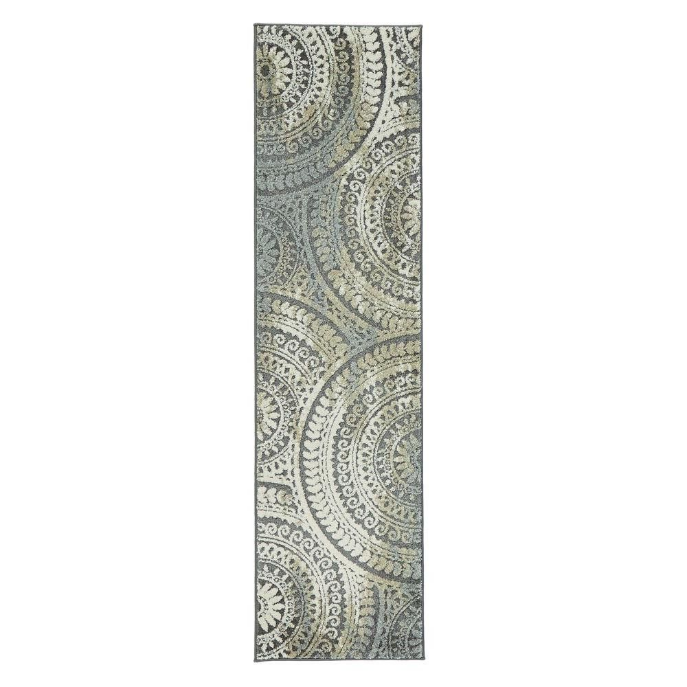 Home Decorators Collection Spiral Medallion Gray 9 Ft X 13 Ft Area Rug 25368 The Home Depot Rug Runner Home Decorators Collection Rugs