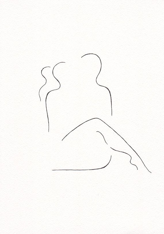 black and white original ink drawing. erotic bedroom art. lovers