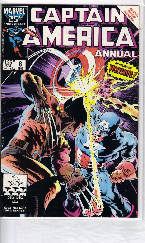 COPPER AGE MARVEL COMICS CAPTAIN AMERICA ANNUAL # 8 FEATURING WOLVERINE VS CAPTAIN AMERICA, COMIC GRADES NEAR MINT AND IS BAGGED AND BOARDED.