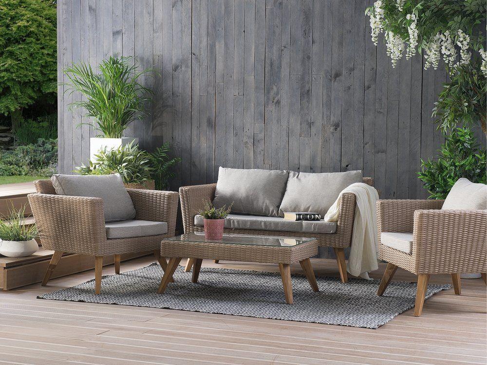 7b934890d206c7 Zestaw mebli ogrodowych z rattanu. Idealny na altankę, patio czy ogród.  #beliani #mebleogrodowe #ogród #dekoracje #gardeninspiration