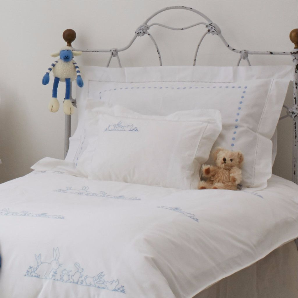 Blue Bunnies Cot Bed Duvet Coversarahk Designs  Sarahk Extraordinary Bedroom Cot Designs Photos Design Inspiration