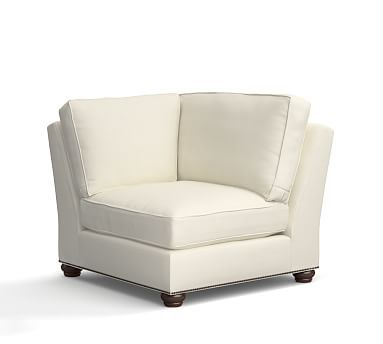 Webster Roll Arm Upholstered Corner with Bronze Nailheads, Down Blend Wrapped Cushions, Organic Cotton Basketweave Warm White